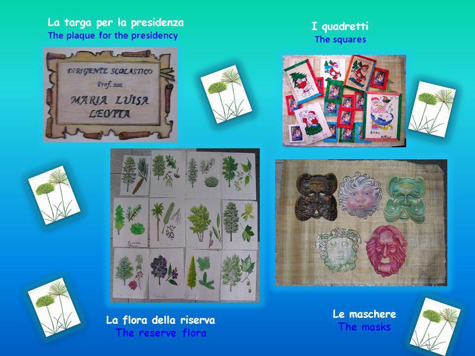 La targa per la presidenza The plaque for the presidency La flora della riserva The reserve flora Le maschere The masks I quadretti The squares