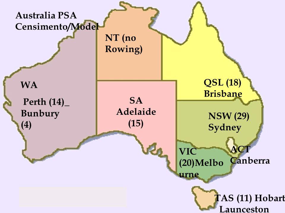 WA Perth (14)_ Bunbury (4) NT (no Rowing) SA Adelaide (15) TAS (11) Hobart _Launceston VIC (20)Melbo urne ACT Canberra NSW (29) Sydney QSL (18) Brisba