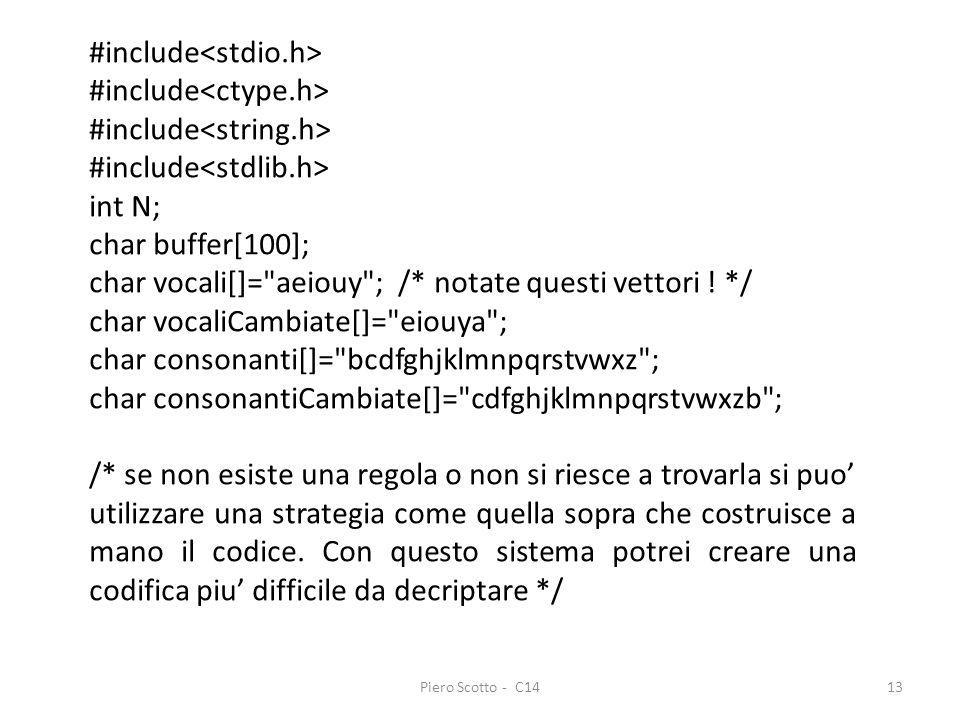 Piero Scotto - C1413 #include int N; char buffer[100]; char vocali[]=