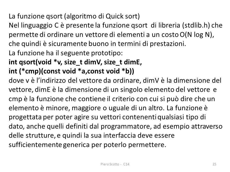 Piero Scotto - C1425 La funzione qsort (algoritmo di Quick sort) Nel linguaggio C è presente la funzione qsort di libreria (stdlib.h) che permette di