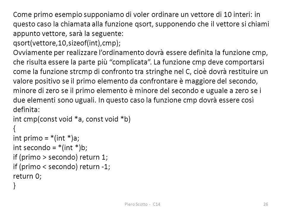 Piero Scotto - C1426 Come primo esempio supponiamo di voler ordinare un vettore di 10 interi: in questo caso la chiamata alla funzione qsort, supponen