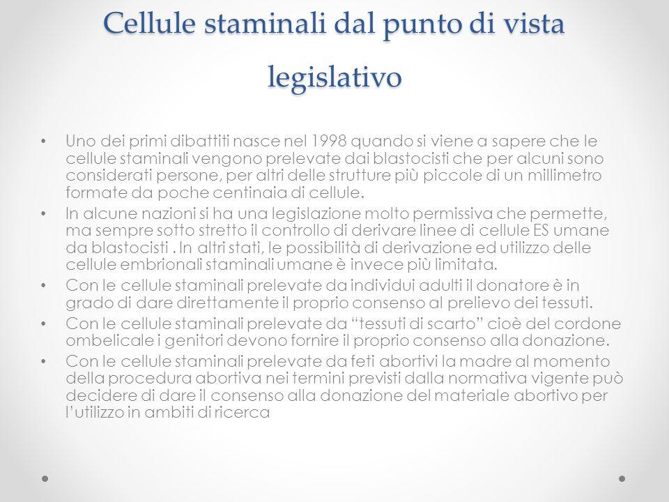 Cellule staminali dal punto di vista legislativo Uno dei primi dibattiti nasce nel 1998 quando si viene a sapere che le cellule staminali vengono prel