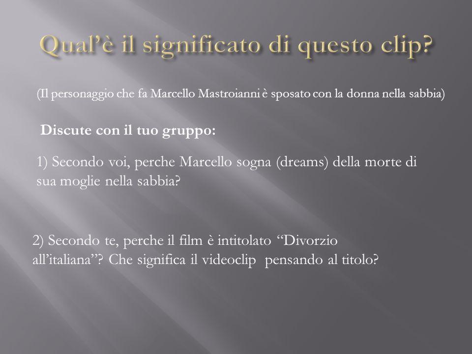 Il divorzio era illegale in Italia fino al 1972, quando il governo fece una legge Secondo voi, perche lItalia ha dovuto aspettare tanto tempo.