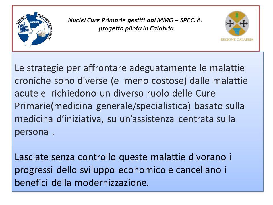 Nuclei Cure Primarie gestiti dai MMG – SPEC. A. progetto pilota in Calabria Le strategie per affrontare adeguatamente le malattie croniche sono divers