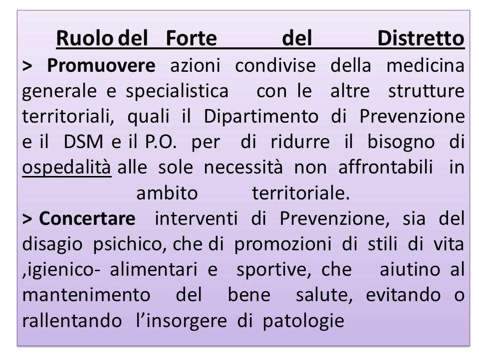 RuolodelForte del Distretto > Promuovere azioni condivise della medicina generale e specialistica con le altre strutture territoriali, quali il Dipart