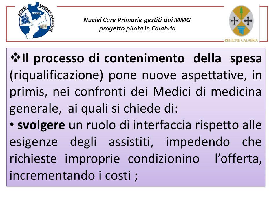 Nuclei Cure Primarie gestiti dai MMG progetto pilota in Calabria Il processo di contenimento della spesa (riqualificazione) pone nuove aspettative, in