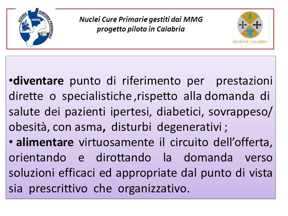 Nuclei Cure Primarie gestiti dai MMG progetto pilota in Calabria diventare punto di riferimento per prestazioni dirette o specialistiche,rispetto alla