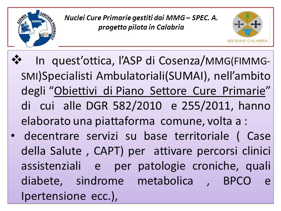 Nuclei Cure Primarie gestiti dai MMG – SPEC. A. progetto pilota in Calabria In questottica, lASP di Cosenza/ MMG(FIMMG- SMI )Specialisti Ambulatoriali