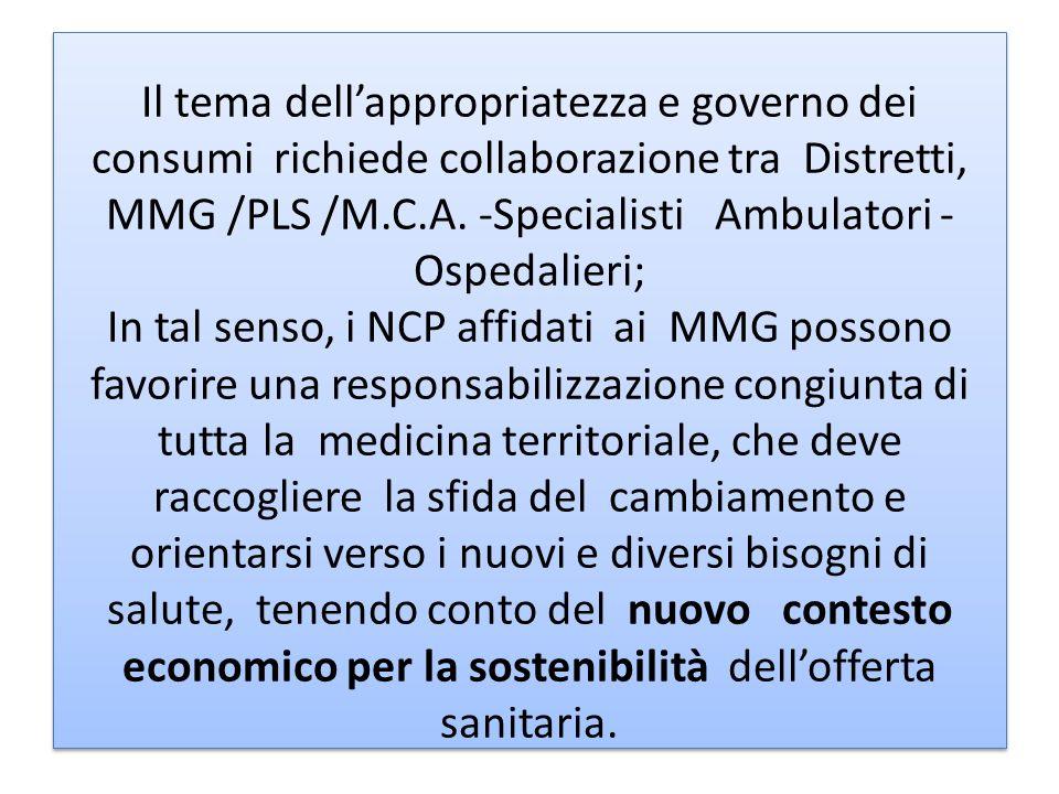 Il tema dellappropriatezza e governo dei consumi richiede collaborazione tra Distretti, MMG /PLS /M.C.A. -Specialisti Ambulatori - Ospedalieri; In tal
