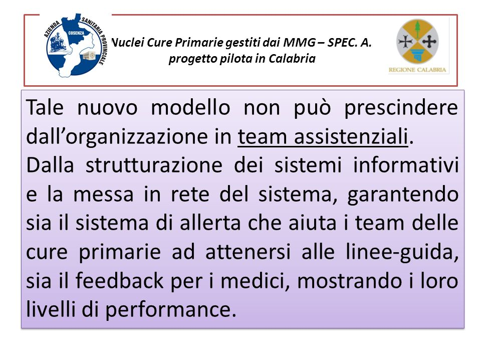 Nuclei Cure Primarie gestiti dai MMG – SPEC. A. progetto pilota in Calabria Tale nuovo modello non può prescindere dallorganizzazione in team assisten