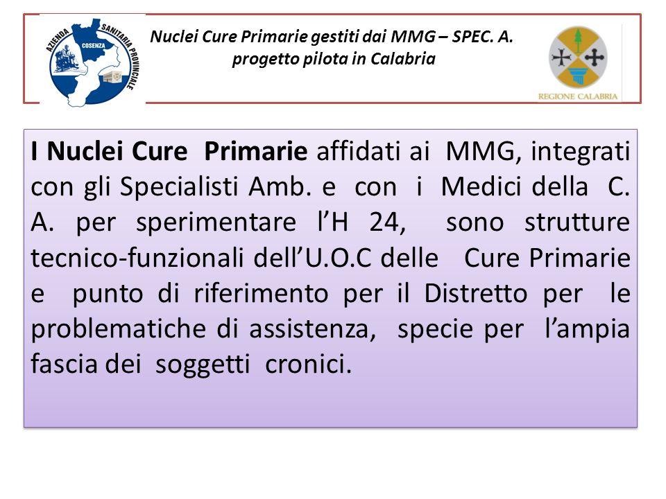 Nuclei Cure Primarie gestiti dai MMG – SPEC. A. progetto pilota in Calabria I Nuclei Cure Primarie affidati ai MMG, integrati con gli Specialisti Amb.