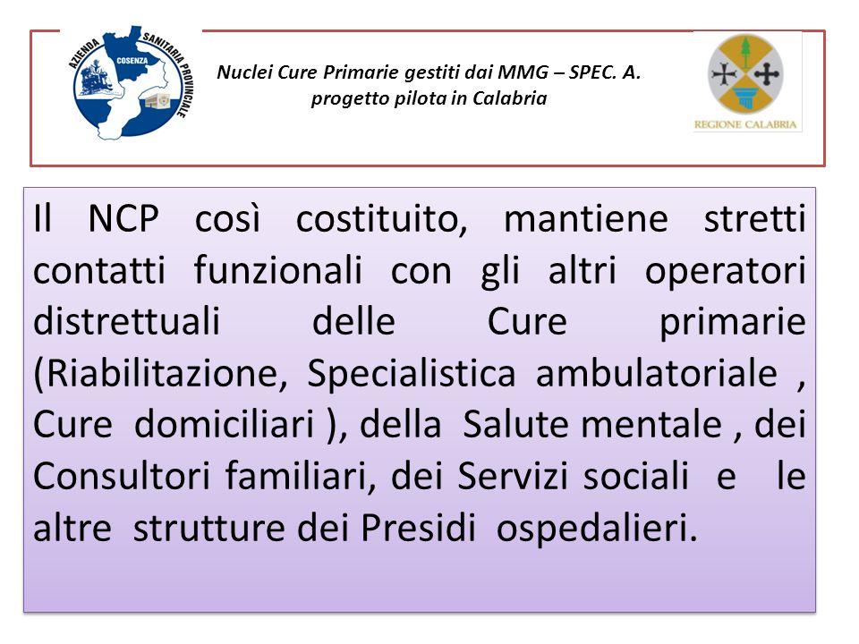 Nuclei Cure Primarie gestiti dai MMG – SPEC. A. progetto pilota in Calabria Il NCP così costituito, mantiene stretti contatti funzionali con gli altri