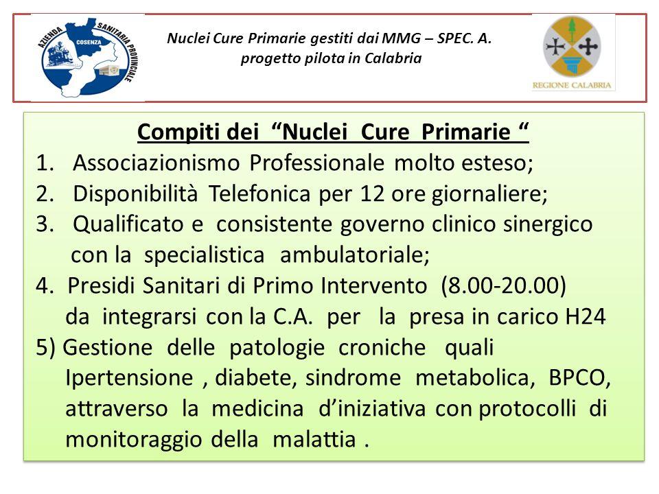 Nuclei Cure Primarie gestiti dai MMG – SPEC. A. progetto pilota in Calabria Compiti dei Nuclei Cure Primarie 1. Associazionismo Professionale molto es