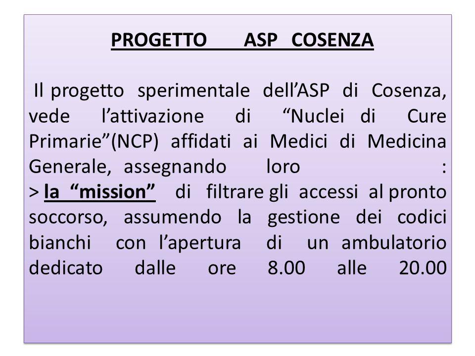 PROGETTOASPCOSENZA Il progetto sperimentale dellASP di Cosenza, vede lattivazione di Nuclei di Cure Primarie(NCP) affidati ai Medici di Medicina Gener