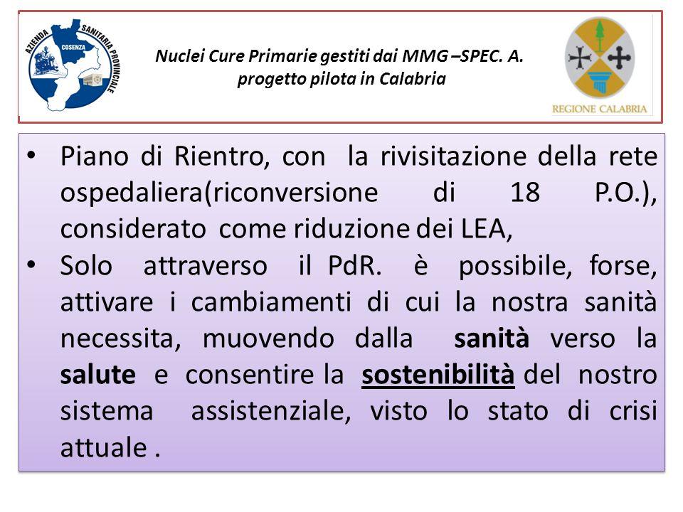 Nuclei Cure Primarie gestiti dai MMG –SPEC. A. progetto pilota in Calabria Piano di Rientro, con la rivisitazione della rete ospedaliera(riconversione