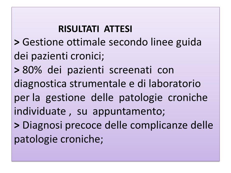 RISULTATI ATTESI > Gestione ottimale secondo linee guida dei pazienti cronici; > 80% dei pazienti screenati con diagnostica strumentale e di laborator