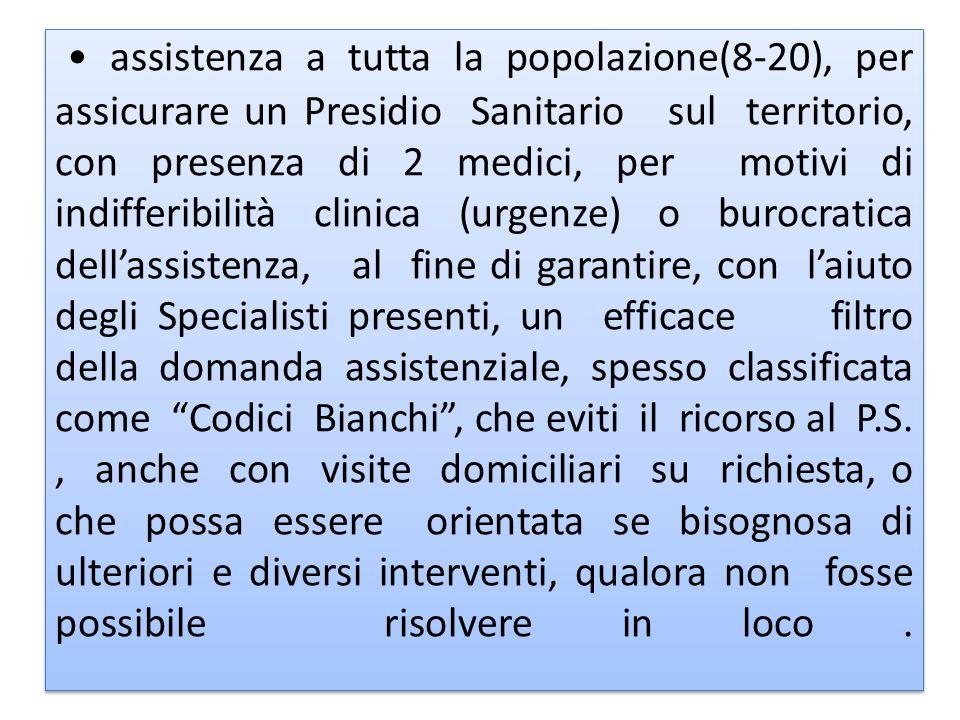 assistenza a tutta la popolazione(8-20), per assicurare un Presidio Sanitario sul territorio, con presenza di 2 medici, per motivi di indifferibilità