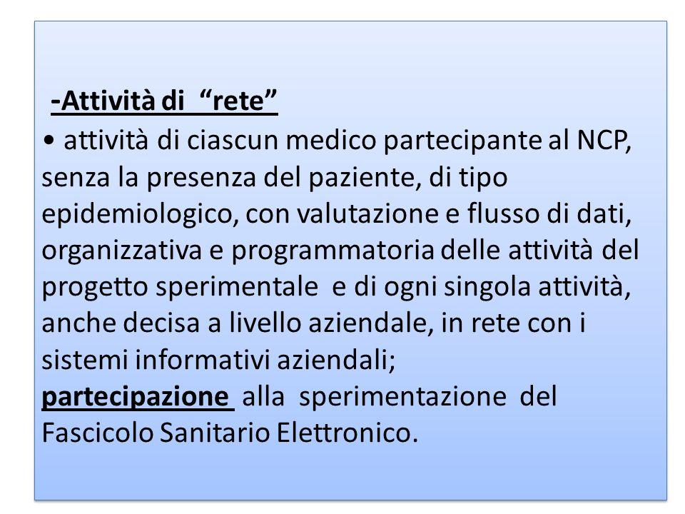 - Attività di rete attività di ciascun medico partecipante al NCP, senza la presenza del paziente, di tipo epidemiologico, con valutazione e flusso di