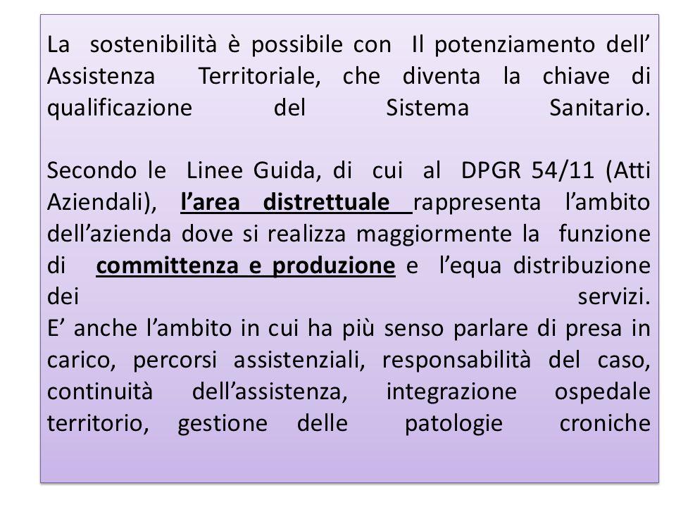 La sostenibilità è possibile con Il potenziamento dell Assistenza Territoriale, che diventa la chiave di qualificazione del Sistema Sanitario. Secondo