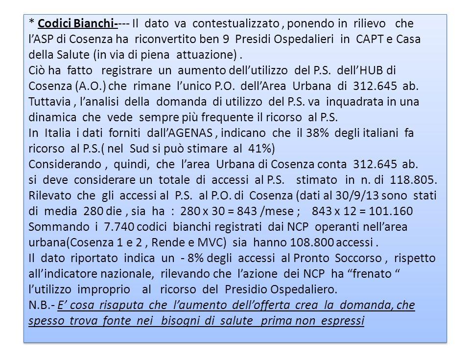 * Codici Bianchi---- Il dato va contestualizzato, ponendo in rilievo che lASP di Cosenza ha riconvertito ben 9 Presidi Ospedalieri in CAPT e Casa dell