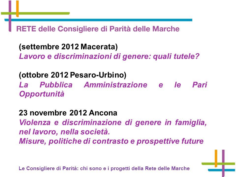 (settembre 2012 Macerata) Lavoro e discriminazioni di genere: quali tutele.