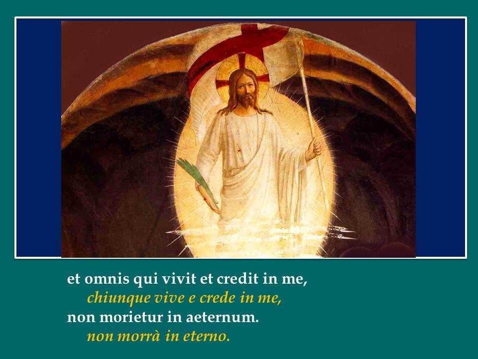 Ego sum resurrectio et vita: Io sono la risurrezione e la vita: qui credit in me, etiam si mortuus fuerit, vivet; chi crede in me, anche se muore, vivrà;
