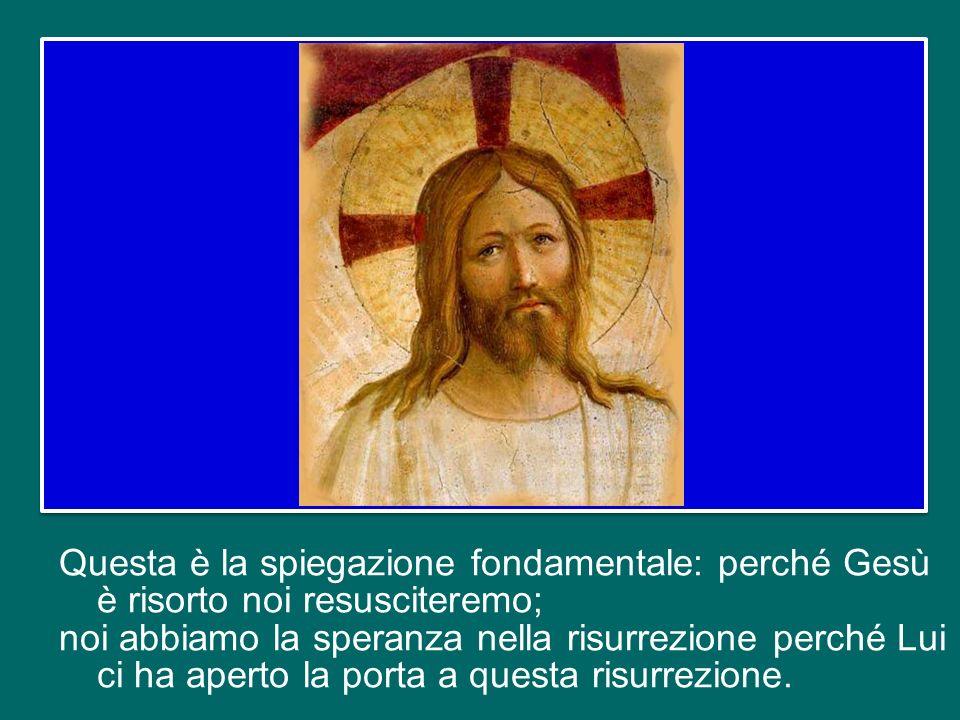 La risurrezione di tutti noi avverrà nellultimo giorno, alla fine del mondo, ad opera della onnipotenza di Dio, il quale restituirà la vita al nostro corpo riunendolo allanima, in forza della risurrezione di Gesù.