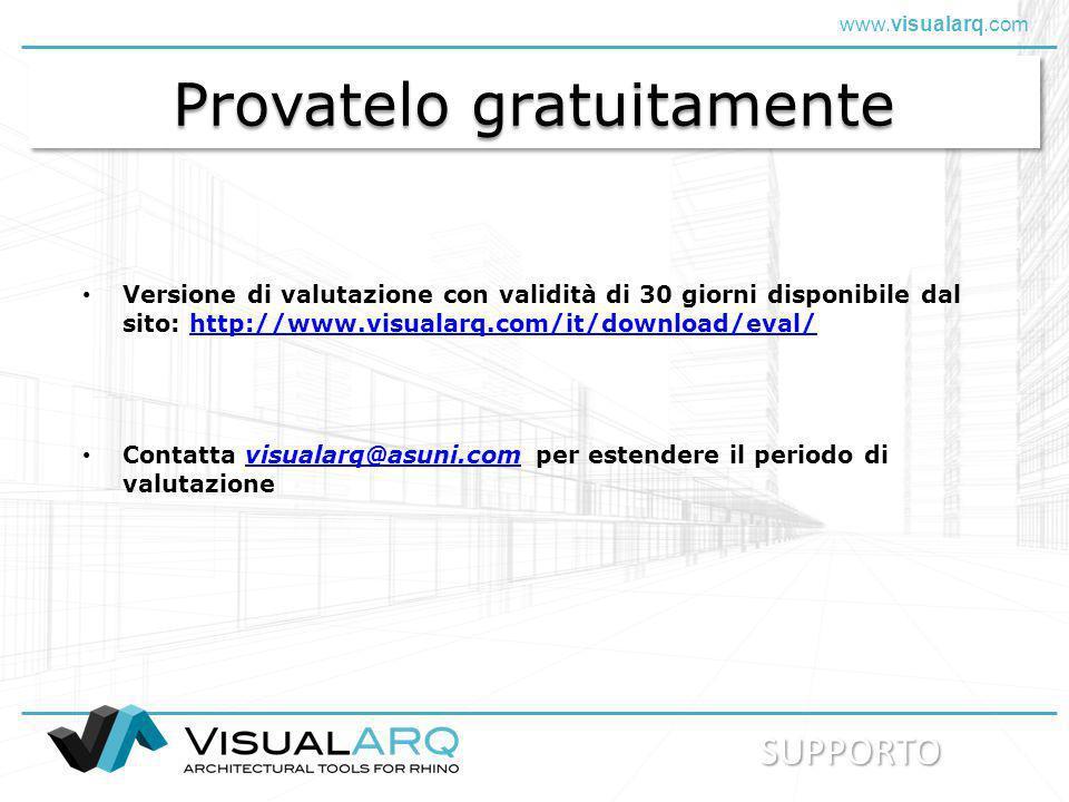 www.visualarq.com Provatelo gratuitamente Versione di valutazione con validità di 30 giorni disponibile dal sito: http://www.visualarq.com/it/download