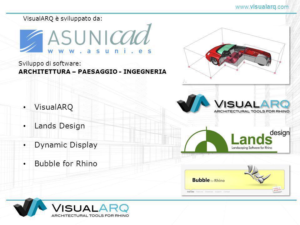 www.visualarq.com Lands Design Bubble for Rhino Sviluppo di software: ARCHITETTURA – PAESAGGIO - INGEGNERIA VisualARQ Dynamic Display VisualARQ è svil