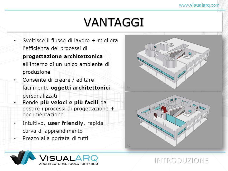 www.visualarq.com Sistema di sviluppo VisualARQ è in continuo sviluppo Vengono aggiunte nuove funzioni ed apportati miglioramenti ogni 3-4 mesi Aggiornamenti gratuiti I messaggi di riscontro ed i suggerimenti degli utenti sono fondamentali per lo sviluppo di VisualARQ Sviluppo