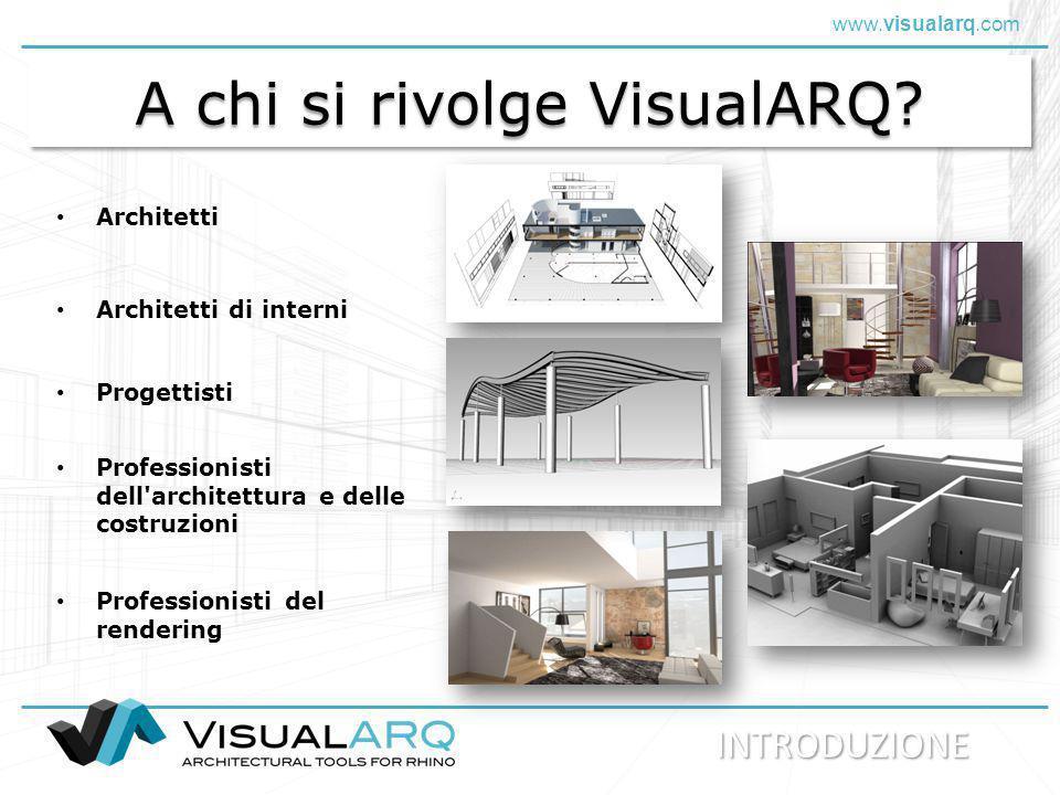 www.visualarq.com A chi si rivolge VisualARQ? Architetti Architetti di interni Progettisti INTRODUZIONE Professionisti del rendering Professionisti de