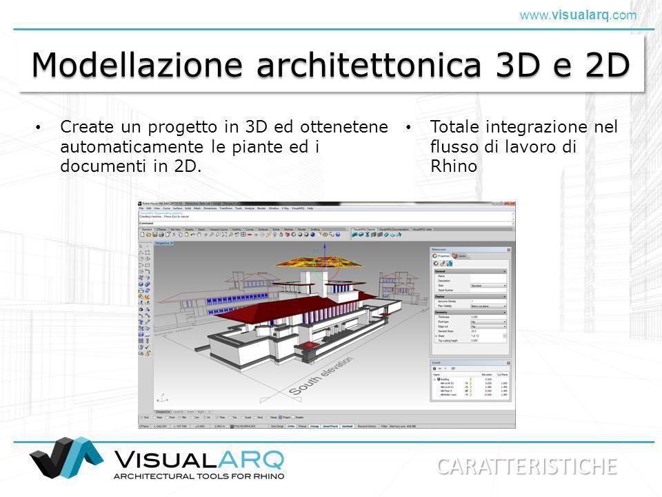 www.visualarq.com Modellazione architettonica 3D e 2D Create un progetto in 3D ed ottenetene automaticamente le piante ed i documenti in 2D. Totale in