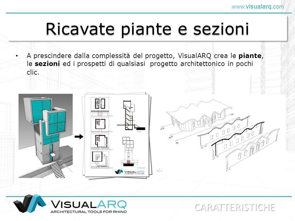 www.visualarq.com Oggetti architettonici parametrici Possibilità di impostare librerie di oggetti per i muri, le travi, le colonne, le porte, le finestre, le ringhiere, le scale, ecc.