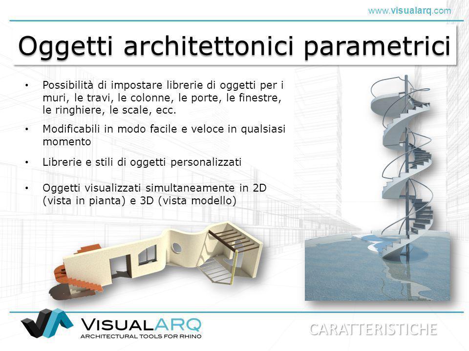 www.visualarq.com Oggetti architettonici parametrici Possibilità di impostare librerie di oggetti per i muri, le travi, le colonne, le porte, le fines
