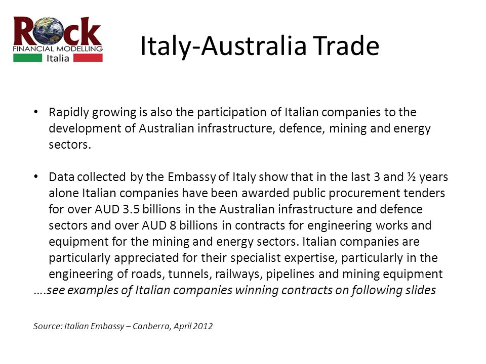 Italy-Australia Trade Rapidly growing is also the participation of Italian companies to the development of Australian infrastructure, defence, mining and energy sectors.