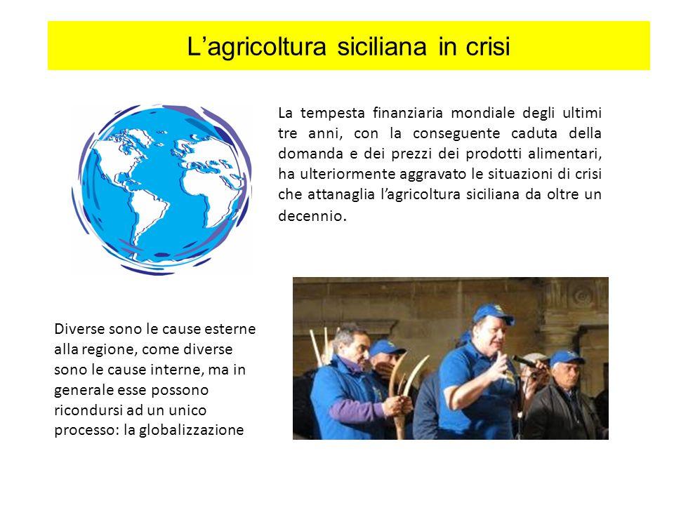 Lagricoltura siciliana in crisi La tempesta finanziaria mondiale degli ultimi tre anni, con la conseguente caduta della domanda e dei prezzi dei prodotti alimentari, ha ulteriormente aggravato le situazioni di crisi che attanaglia lagricoltura siciliana da oltre un decennio.