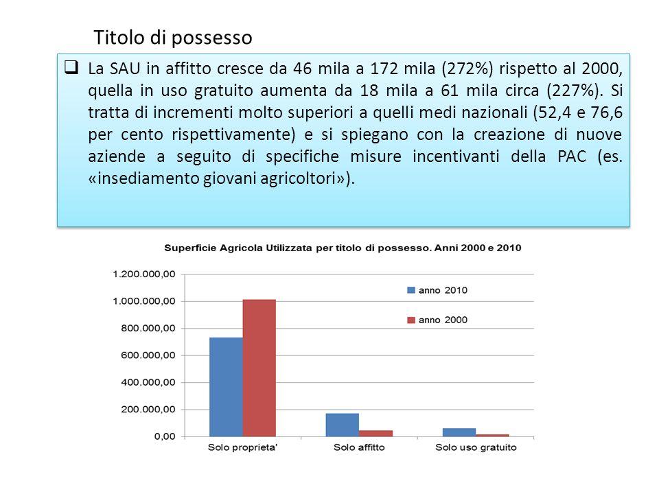 La SAU in affitto cresce da 46 mila a 172 mila (272%) rispetto al 2000, quella in uso gratuito aumenta da 18 mila a 61 mila circa (227%).