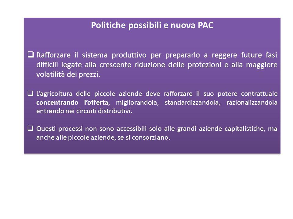 Politiche possibili e nuova PAC Rafforzare il sistema produttivo per prepararlo a reggere future fasi difficili legate alla crescente riduzione delle