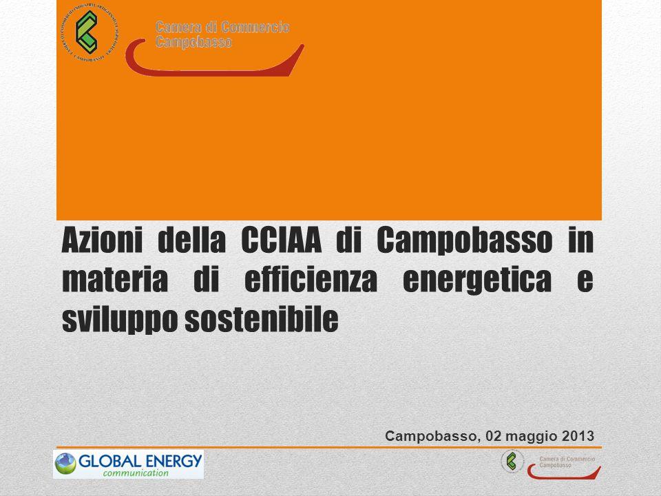 Azioni della CCIAA di Campobasso in materia di efficienza energetica e sviluppo sostenibile Campobasso, 02 maggio 2013