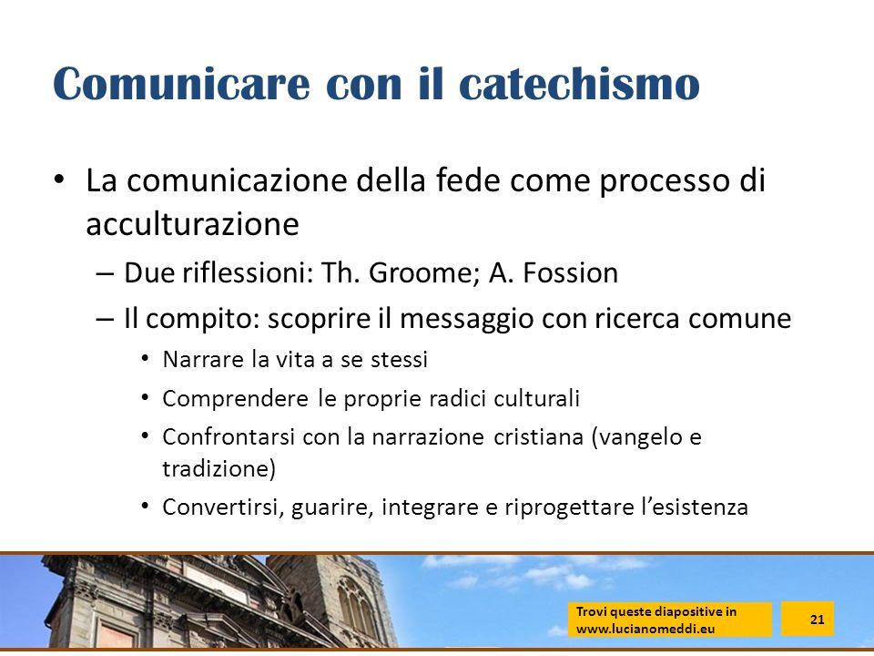 Comunicare con il catechismo La comunicazione della fede come processo di acculturazione – Due riflessioni: Th. Groome; A. Fossion – Il compito: scopr