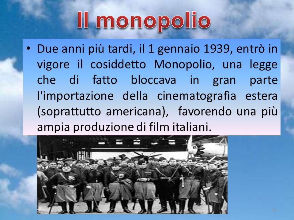 Due anni più tardi, il 1 gennaio 1939, entrò in vigore il cosiddetto Monopolio, una legge che di fatto bloccava in gran parte l'importazione della cin