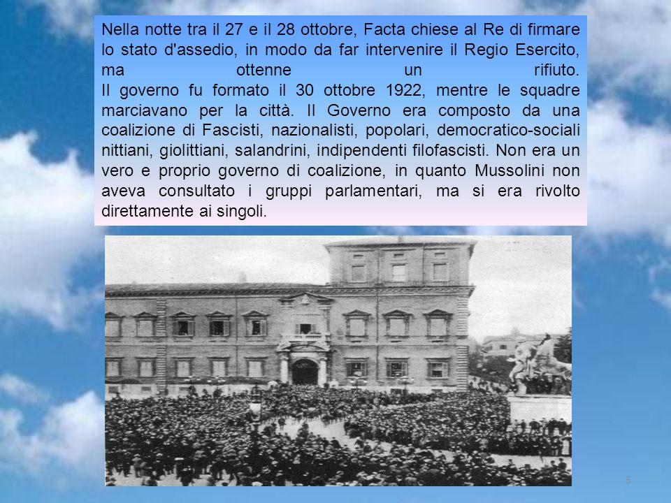 Gruppo 55 Nella notte tra il 27 e il 28 ottobre, Facta chiese al Re di firmare lo stato d'assedio, in modo da far intervenire il Regio Esercito, ma ot