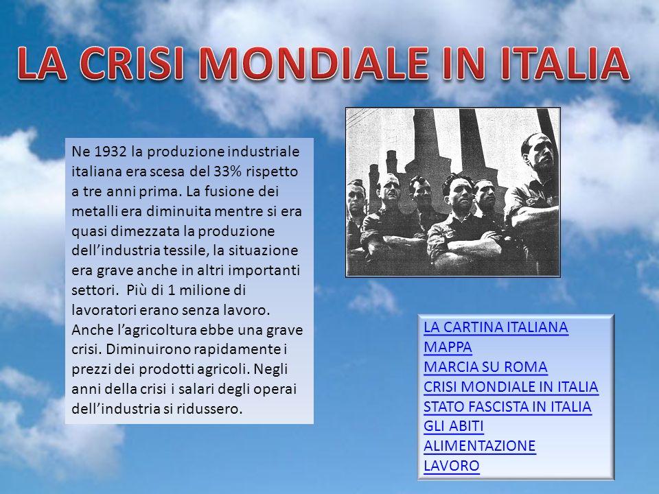 Gruppo 56 Ne 1932 la produzione industriale italiana era scesa del 33% rispetto a tre anni prima. La fusione dei metalli era diminuita mentre si era q
