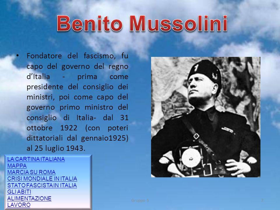 Fondatore del fascismo, fu capo del governo del regno dItalia - prima come presidente del consiglio dei ministri, poi come capo del governo primo mini