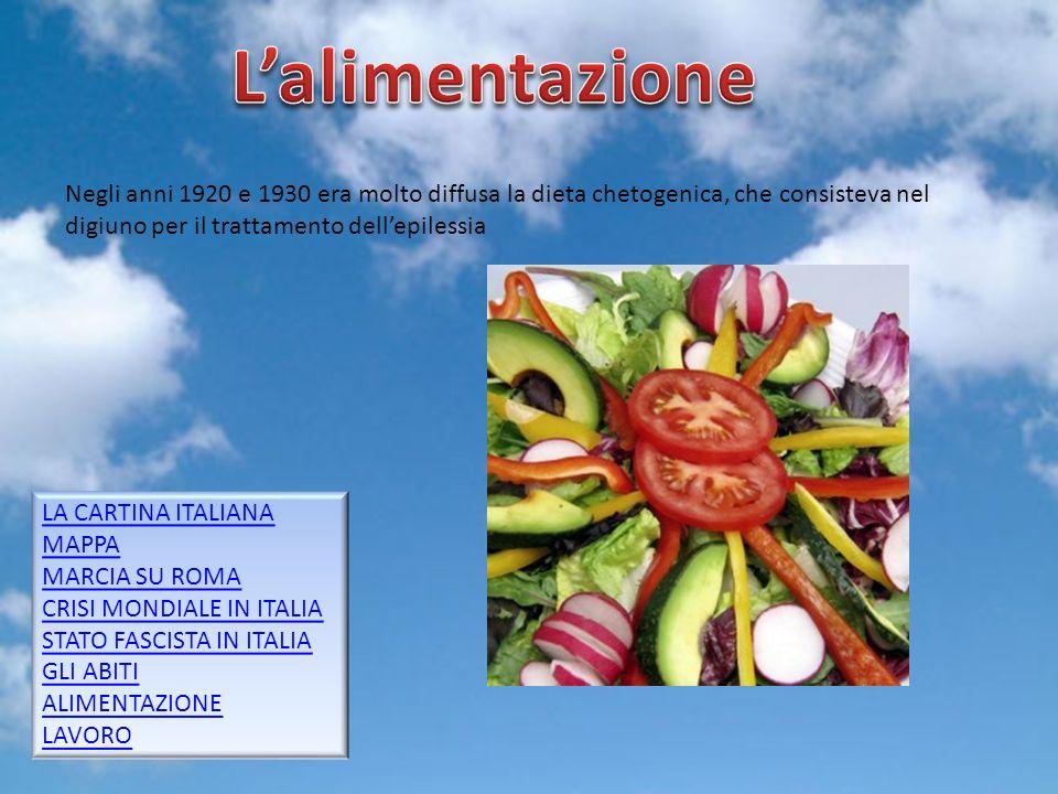 Gruppo 59 Negli anni 1920 e 1930 era molto diffusa la dieta chetogenica, che consisteva nel digiuno per il trattamento dellepilessia LA CARTINA ITALIA