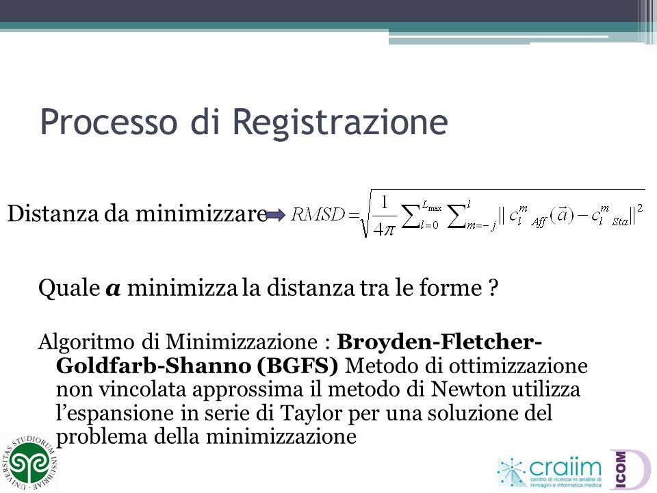 Processo di Registrazione Distanza da minimizzare Quale a minimizza la distanza tra le forme ? Algoritmo di Minimizzazione : Broyden-Fletcher- Goldfar