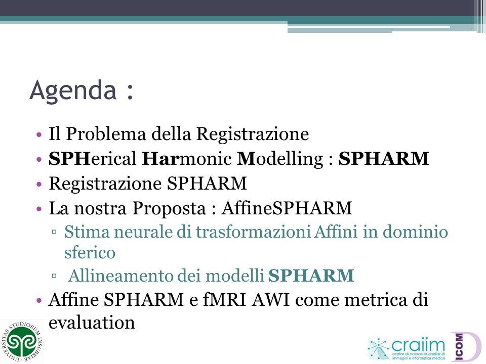 Agenda : Il Problema della Registrazione SPHerical Harmonic Modelling : SPHARM Registrazione SPHARM La nostra Proposta : AffineSPHARM Stima neurale di