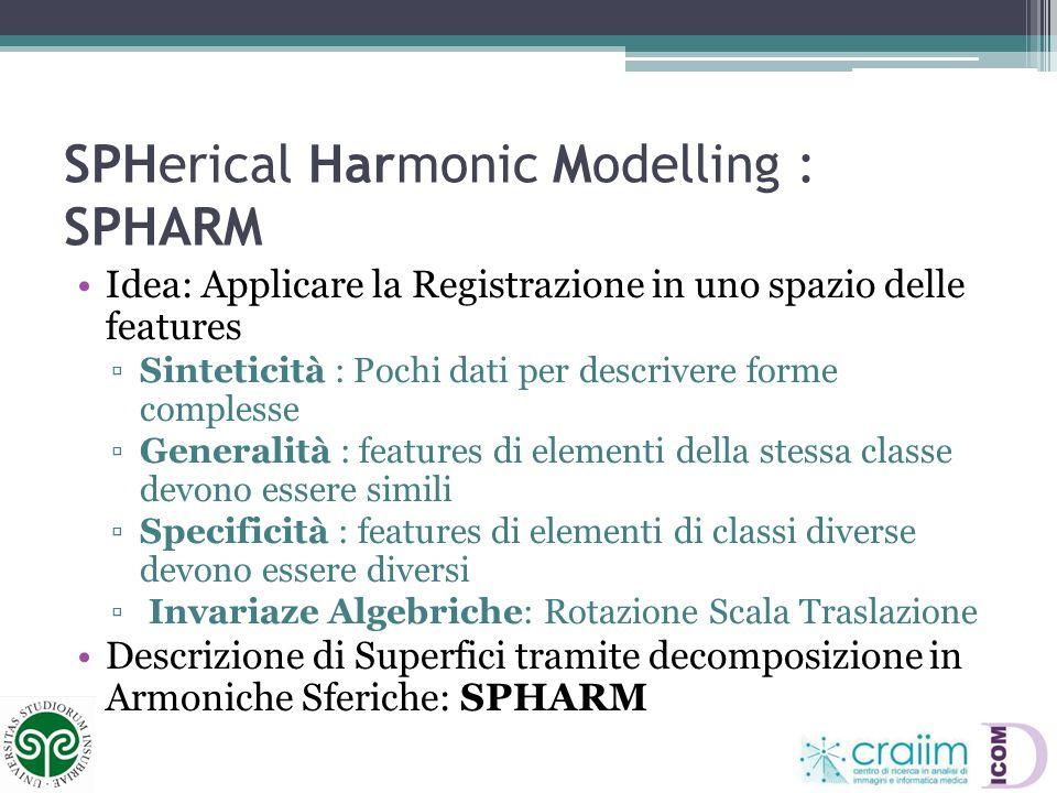 SPHerical Harmonic Modelling : SPHARM Idea: Applicare la Registrazione in uno spazio delle features Sinteticità : Pochi dati per descrivere forme comp