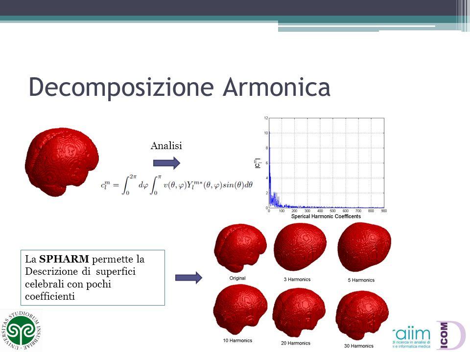 Decomposizione Armonica Analisi La SPHARM permette la Descrizione di superfici celebrali con pochi coefficienti
