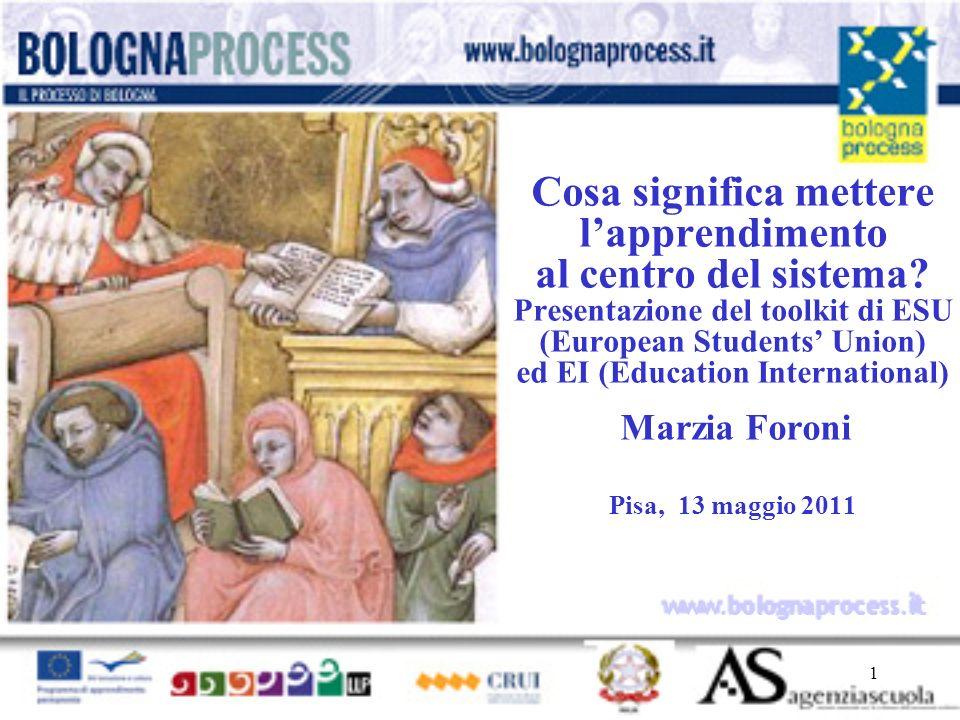 1 www.bolognaprocess.i t Cosa significa mettere lapprendimento al centro del sistema.